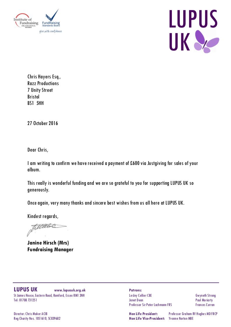 LUPUS UK - Thank you letter to Chris Hayers