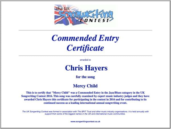 Mercy Child - Commended Entry Certificate - UK Songwriting Contest