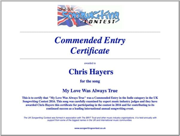 My Loves Was Always True - Commended Entry Certificate - UK Songwriting Contest