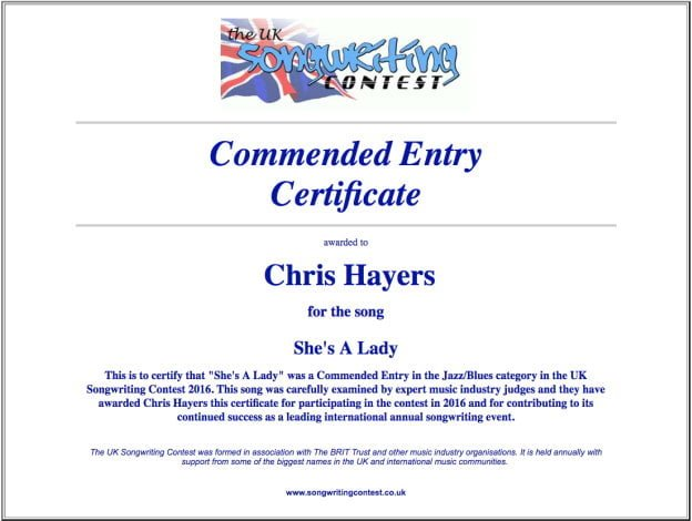 She's A Lady Certificate - Commended Entry Certificate - UK Songwriting Contest