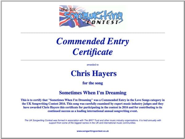 Sometimes When I'm Dreaming - Commended Entry Certificate - UK Songwriting Contest