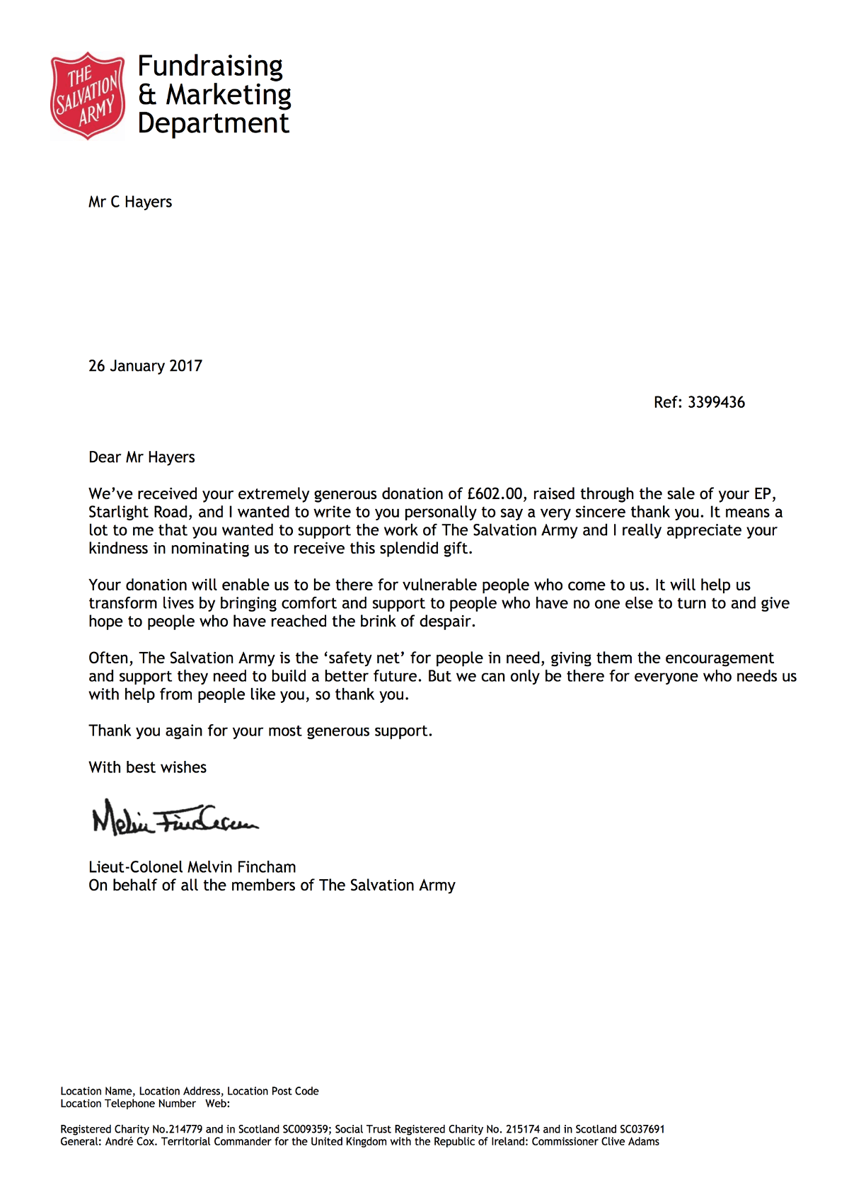 Salvation Army Thank You Letter For Donation Chris Hayers – Thank You Letter for Donations