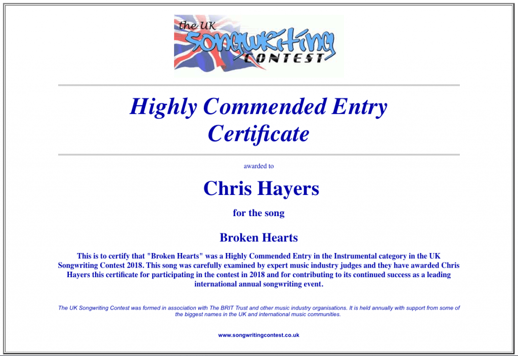 Broken Hearts -- Highly Commended, UK Songwriting Contest