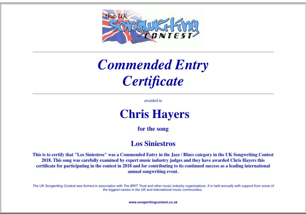 Los Siniestros -- UK Songwriting Contest