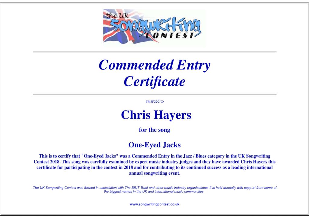 One-Eyed Jacks -- UK Songwriting Contest
