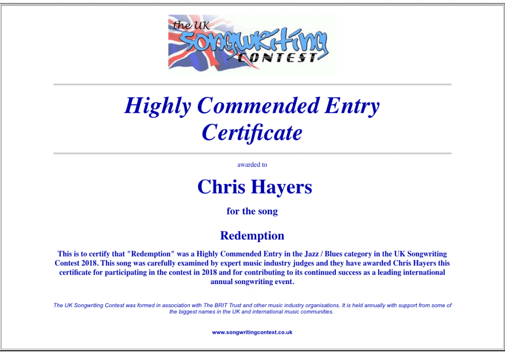 Redemption - Highly Commended, UK Songwriting Contest