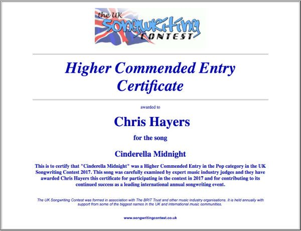 Cinderella Midnight - Commended Entry Certificate - UK Songwriting Contest