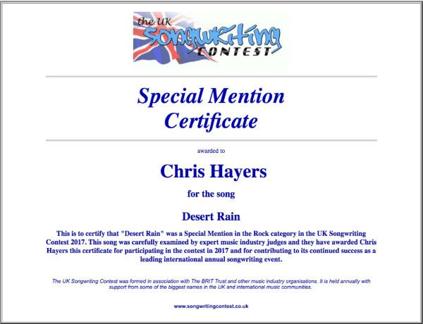 Desert Rain - Commended Entry Certificate - UK Songwriting Contest