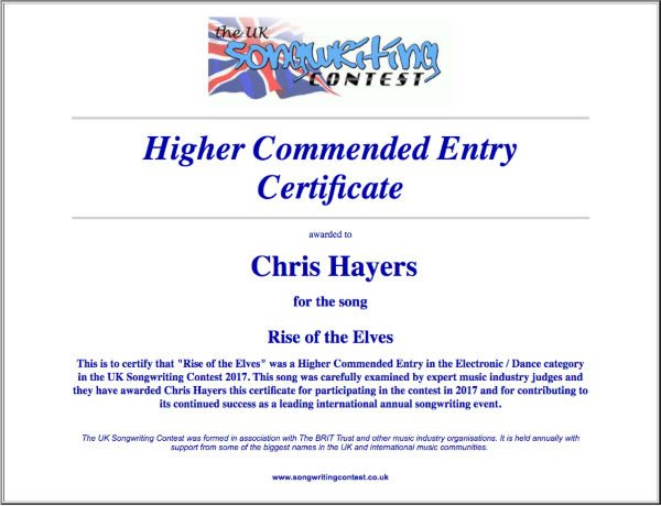 Rise of the Elves - Commended Entry Certificate - UK Songwriting Contest