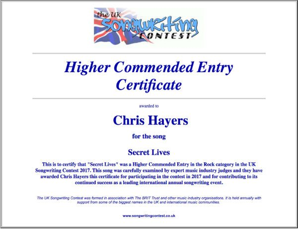 Secret Lives - Commended Entry Certificate - UK Songwriting Contest