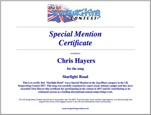 Starlight Road - Commended Entry Certificate - UK Songwriting Contest